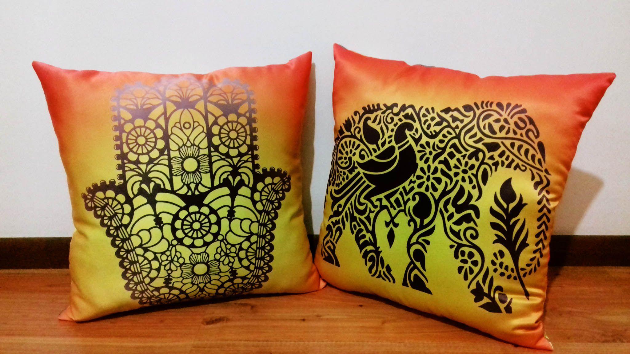 Cojines mano de f tima y elefante indio 45 x 45 cm tela satinada facebook wambi craft - Cojines indios ...
