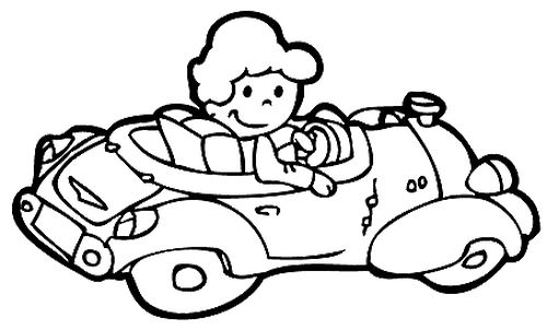 The Girl Drive Car Coloring Page