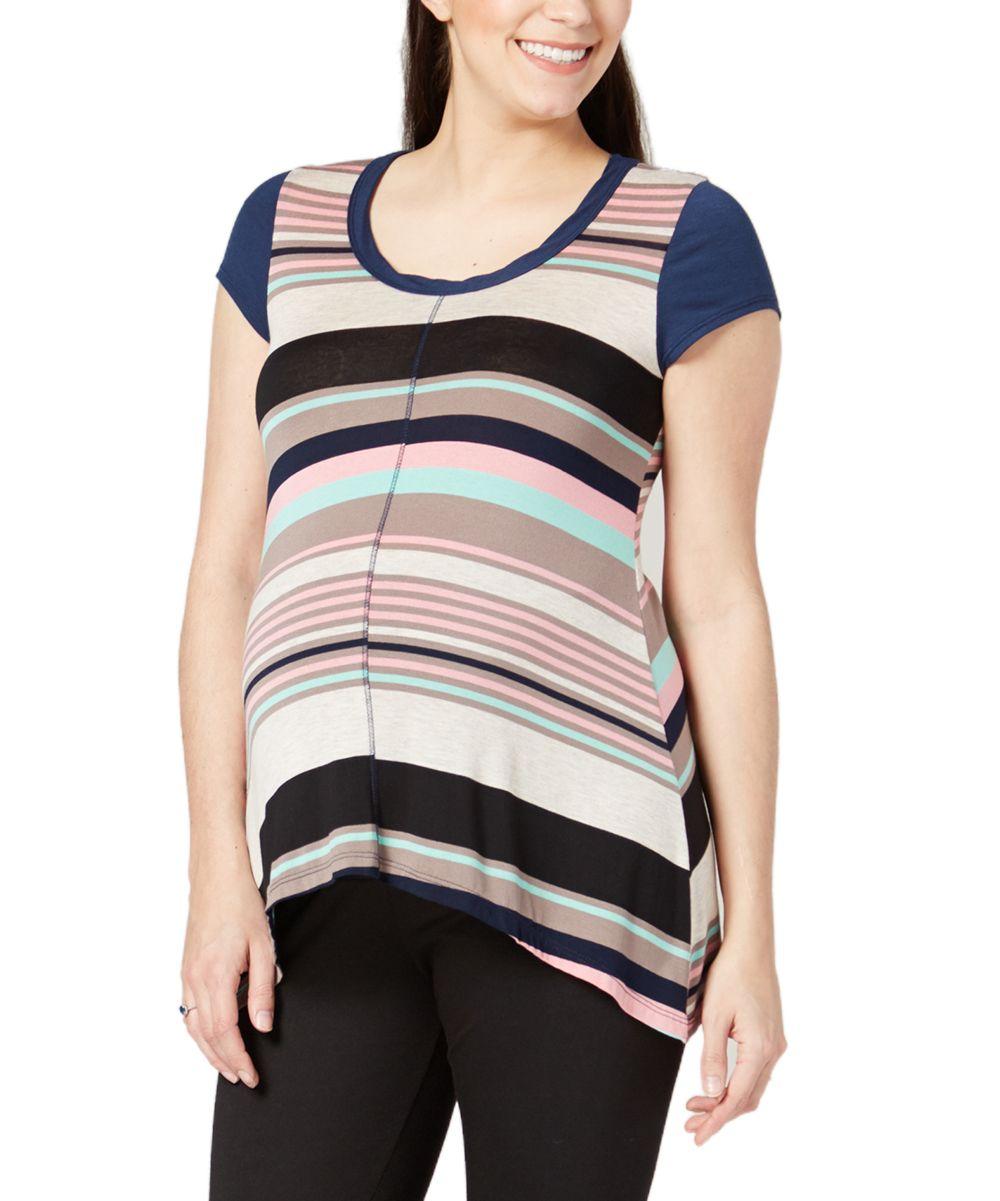 Navy & Mint Stripe Maternity Hi-Low Top