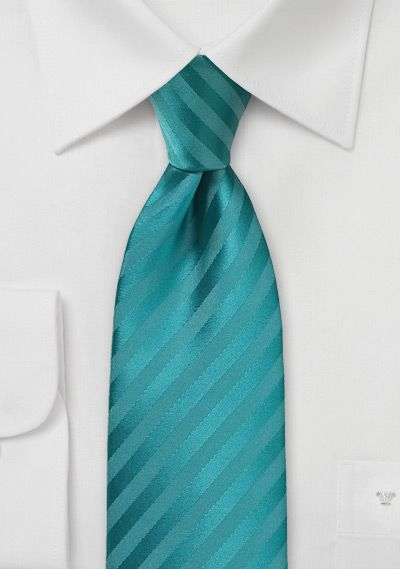 Single Color Striped Tie In Oasis Blue Colour Wheel Turquoise
