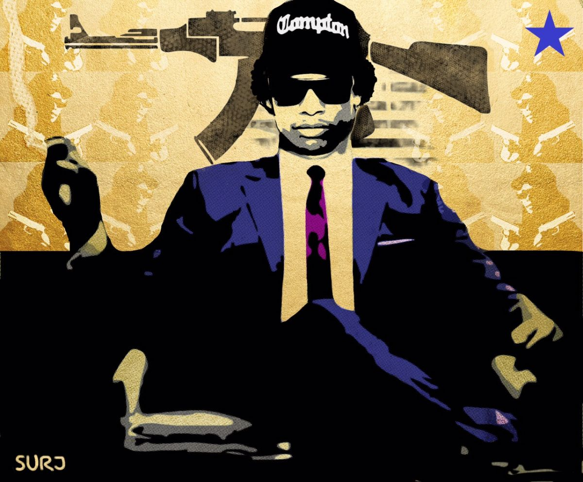 Rap icon Eazy E meets Don Draper. Gold, AK 47, relaxed, stylized ...