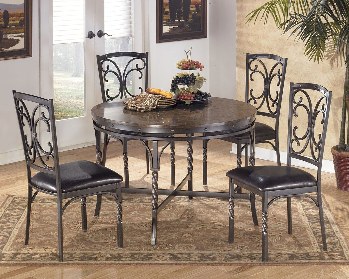 Superb Brindleton Aged Bronze Dinette Set By Ashley Furniture Bralicious Painted Fabric Chair Ideas Braliciousco