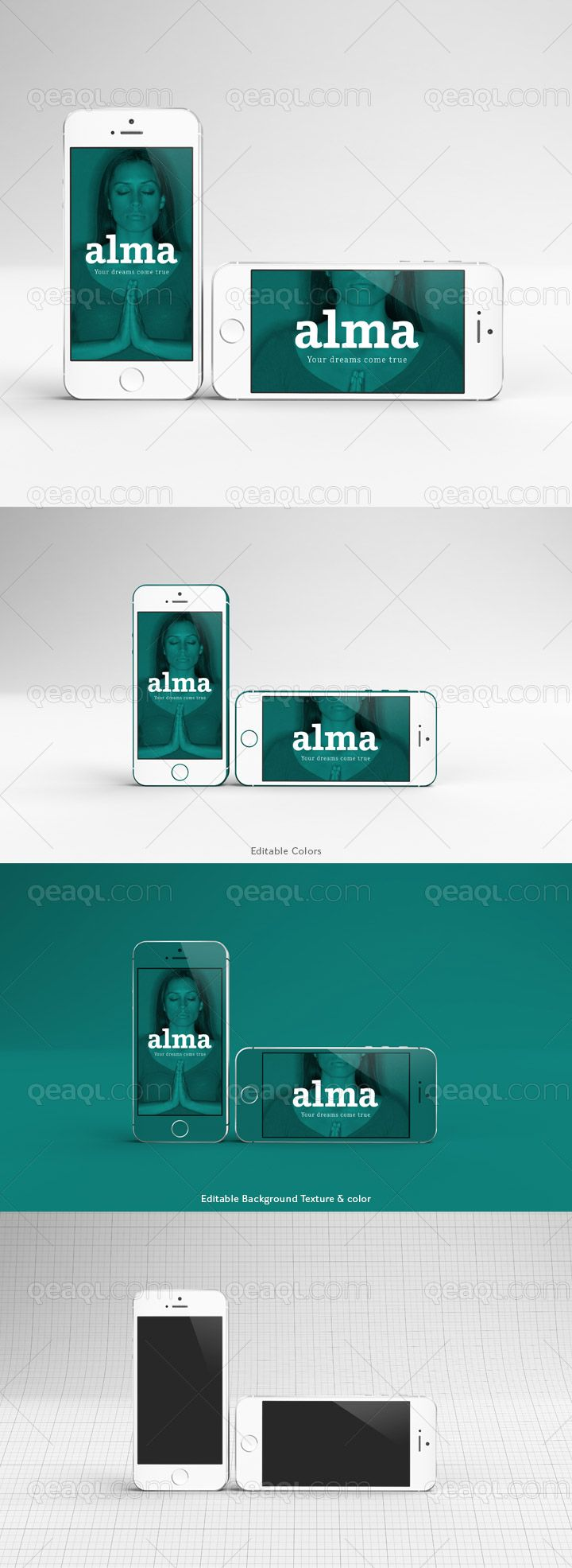 iPhone 5S silver mock up with editable color. Even the ...