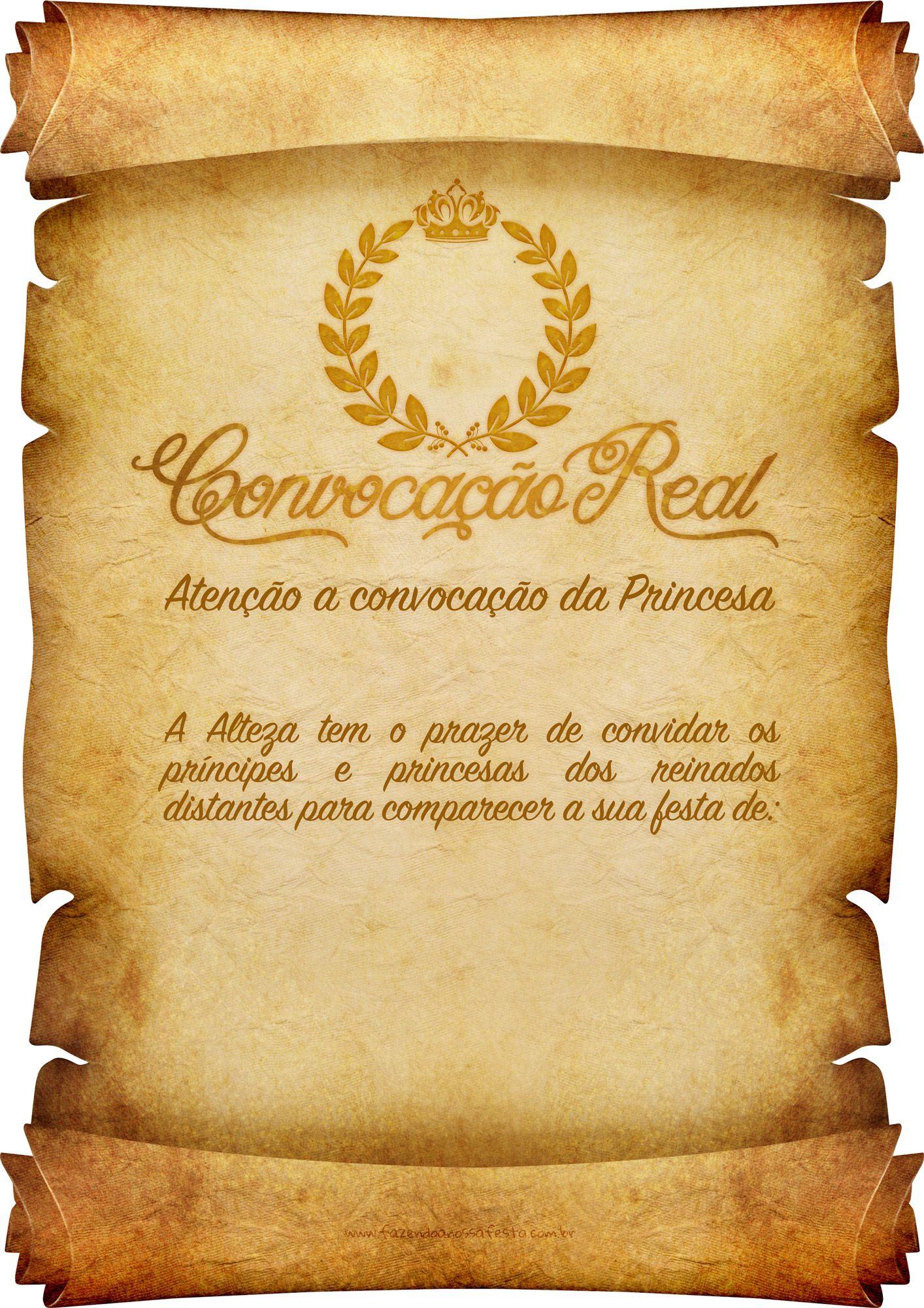 Convite Pergaminho Coroa De Princesa Your Pinterest Likes