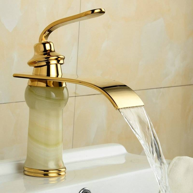 Waterfall Marble Faucet Basin Golden Taps Xt610 Bathroom Faucets