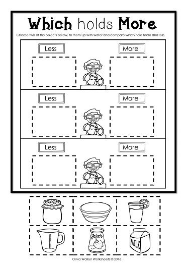 Capacity Non Standard Measurement For Kindergarten Grade One Measurement Kindergarten Capacity Worksheets Free Kindergarten Worksheets