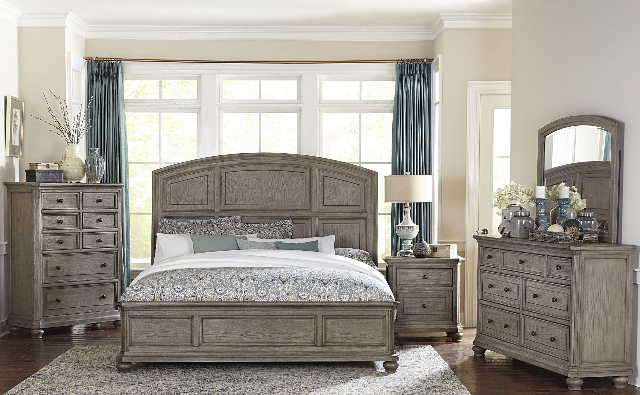 Lavonia Wire Brushed Gray Platform Bedroom Set  King bedroom sets