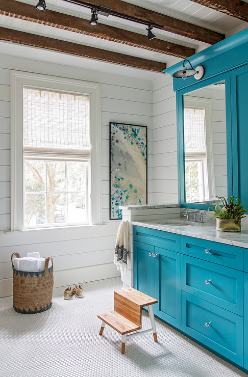 Caribbean Blue Vanity Cabinets Blue Bathroom Decor Blue Bathroom Bathroom Design Luxury