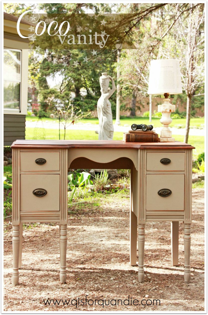 Vanity/desk painted in Annie Sloan Coco with General Finishes Java gel stained top.