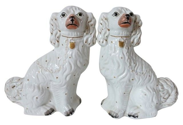 ALL ABOUT STAFFORDSHIRE DOGS February 6, 2016 Decorating with Staffordshire dogs is a timeless design trend that has been popular since the 18th century, and lately I have been seeing these prim and proper pups making a grand resurgence. The Staffordshire spaniel, which has been in production since the 1720s, became the quintessential Victorian status symbol in England and Scotland. No mantelpiece was complete without a pair of spaniels standing guard. Many other breeds were produced, such as