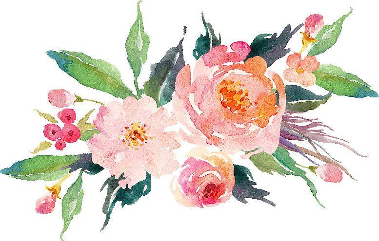 Floral Flower Bunch Watercolor By Madistoutland Acuarela Floral Dibujos Botanicos Flores Vintage Png