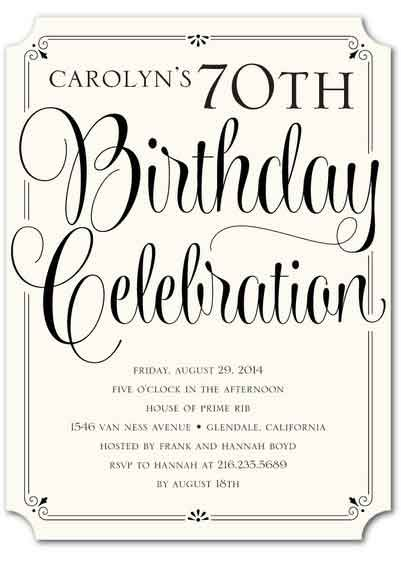 the best 70th birthday invitations by a professional party planner