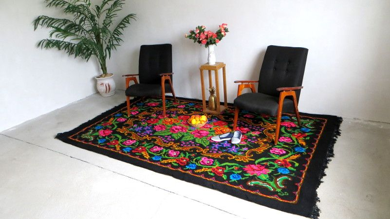 Tapis kilim moldave rose carpet floral rugs boho kelim rose rug