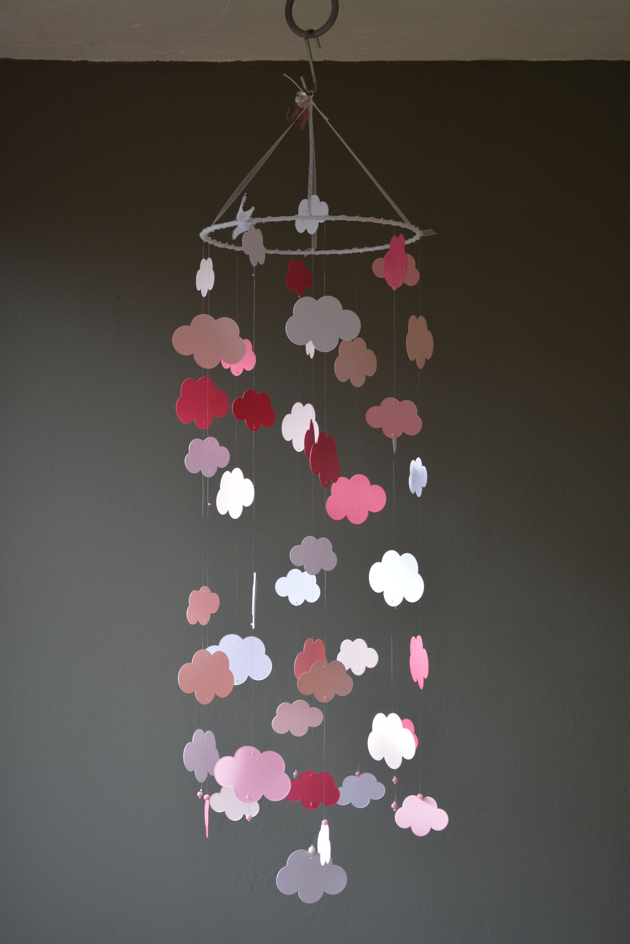 Cloud Baby Mobile Nursery Mobile Made From 3 Pink Shades