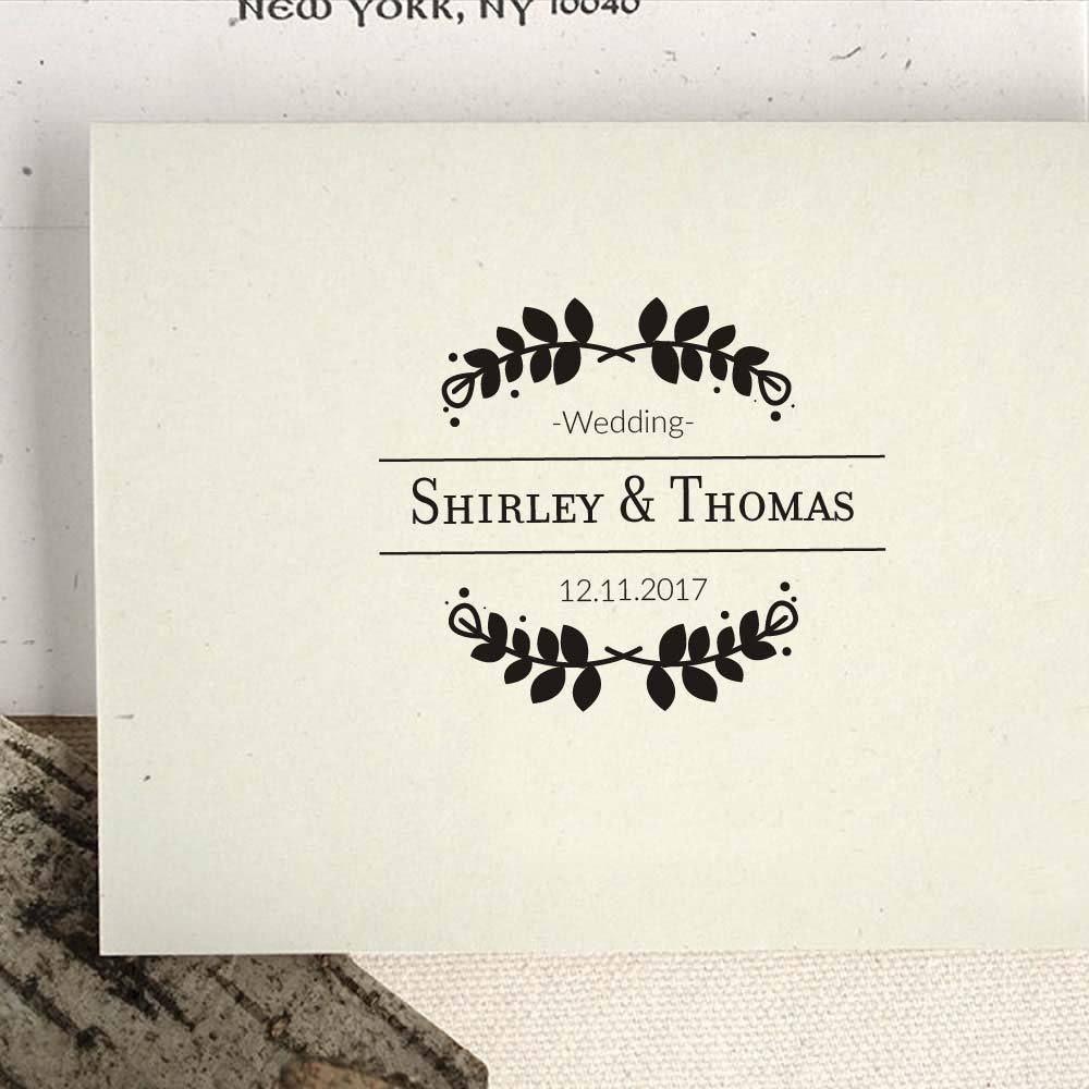 Personalised Wedding Date Couple Handle Rubber Stamp Pre-inked Self ...