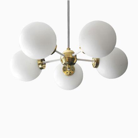 Space Age Deckenlampe aus Weißem Metall und Messing von Kaiser - deckenlampe für badezimmer