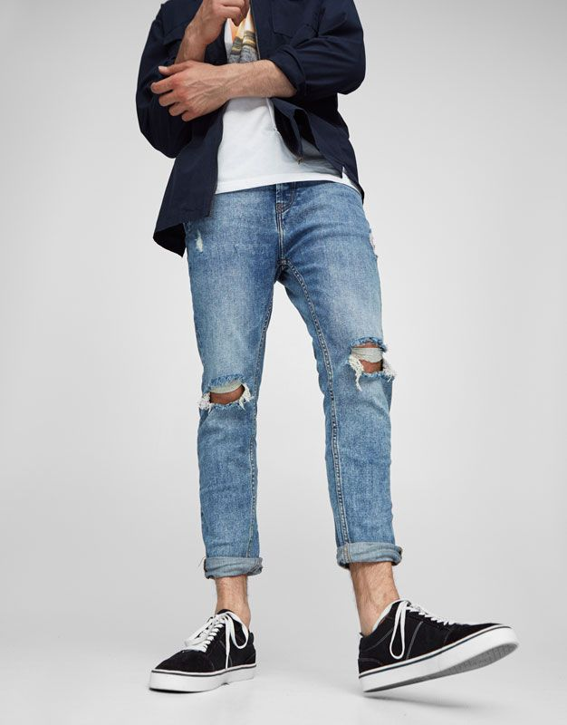 21dc08e8d1 Jeans carrot fit rotos - Jeans carrot fit - Jeans - Ropa - Hombre -  PULL BEAR México
