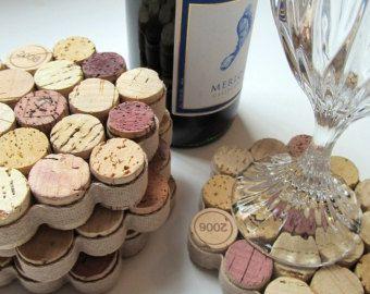 Honeycomb Wine Cork Coasters with Khaki Ribbon -Set of Four - Housewarming Hostess Christmas Wedding Birthday Gift Home Decor
