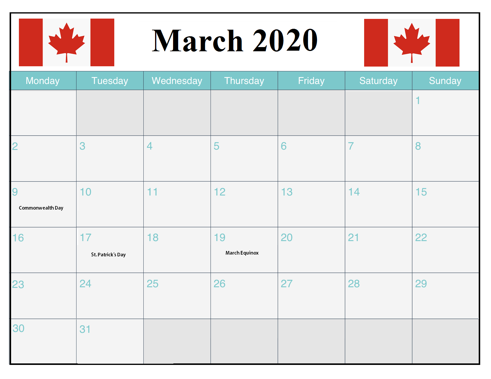 March 2020 Calendar With Holidays For Us Uk Canada India