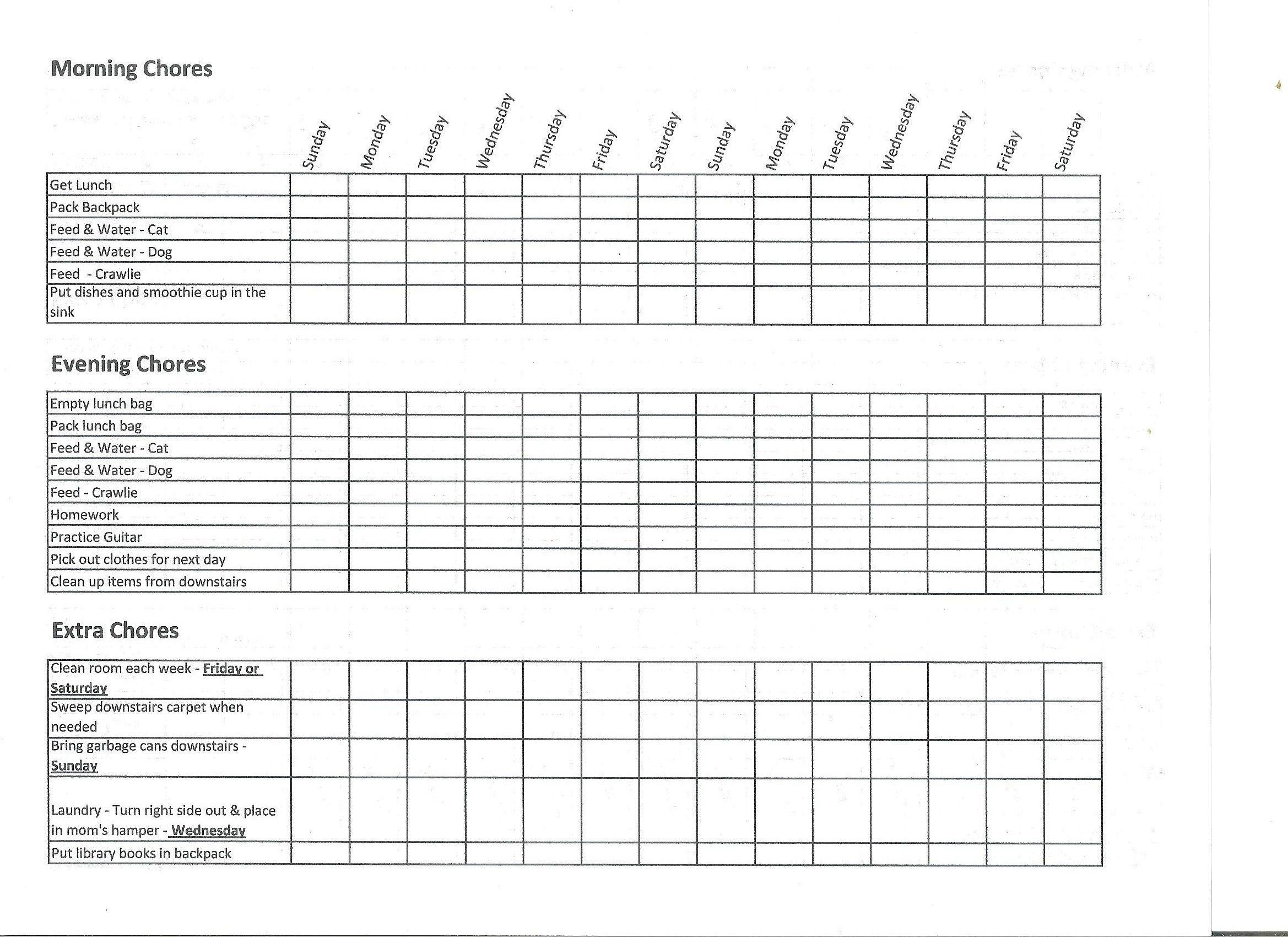 Chore Chart  Money Plan For Kids  Life Skills
