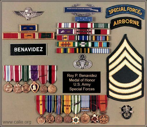 Military Ribbons Medals Of Master Sergeant Roy Benavidez Medal