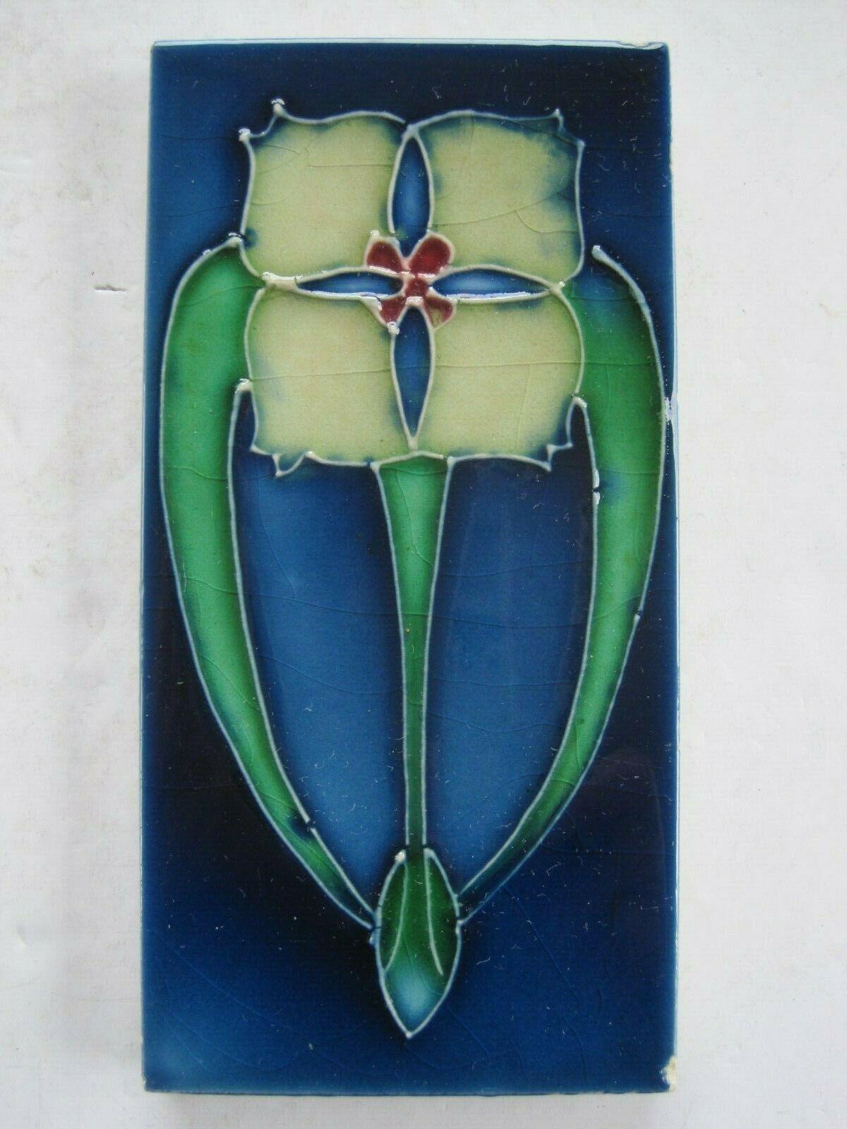 Antique 6 X 3 Art Nouveau Majolica Glazed Moulded Tile Craven Dunnill Ebay Art Nouveau