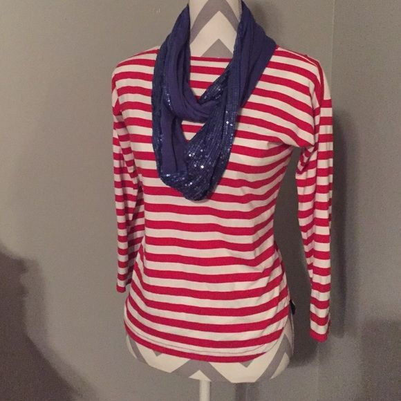 Red and white striped top Red and white striped top. Scarf sold separately. Size Small. Bundle and save 10%!! American Living Tops