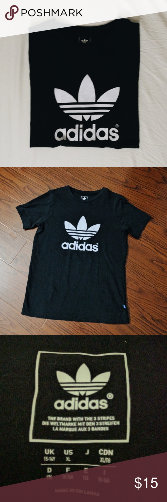 ⚡NEW⚡AUTHENTIC Adidas Logo t-shirt PLEASE READ: IT IS SIZE XL IN CHILDREN'S SIZE, BUT IT FITS LIKE A UNISEX SMALL. Adidas Tops