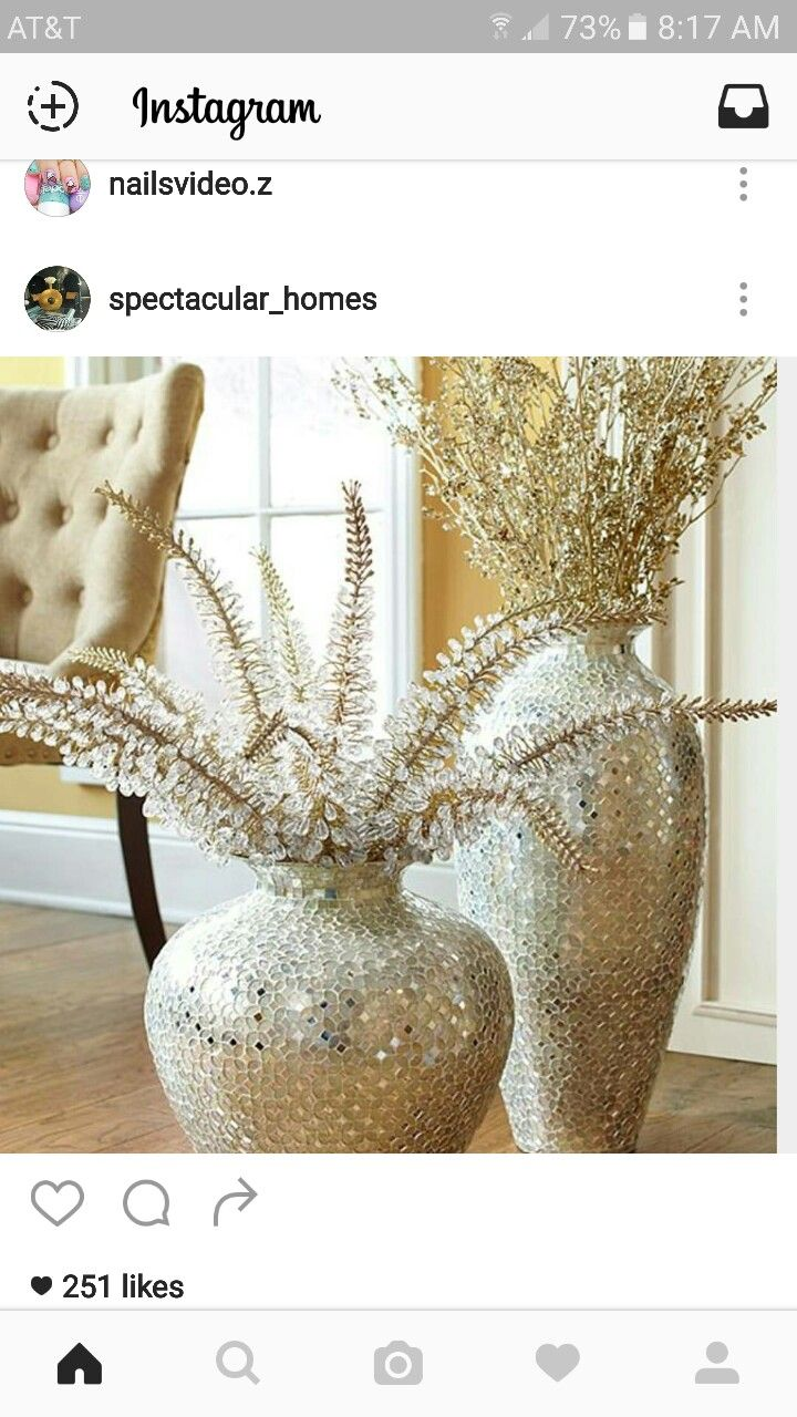 Pin by anita smith on great house pinterest living rooms glam statement gift handcrafted mosaic vases with floral stems love the vases but stems are too much i need some bold colored flowers in there reviewsmspy