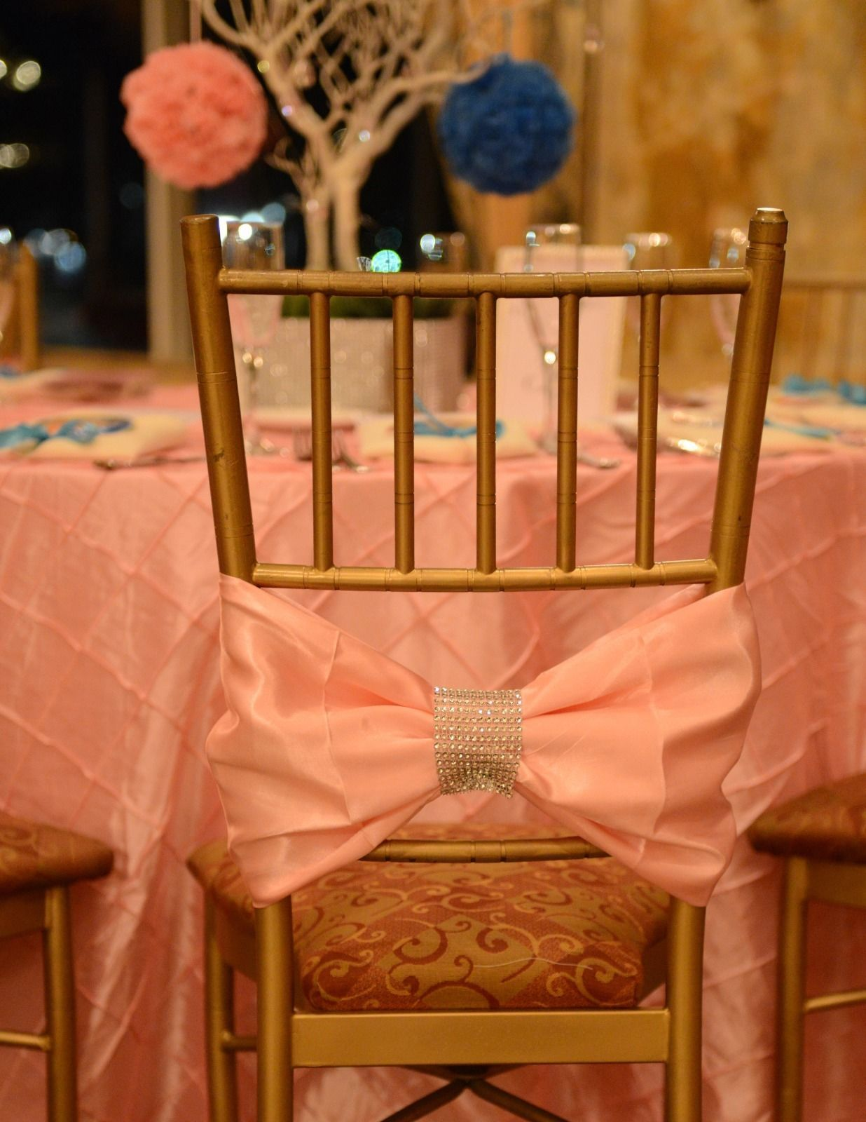 chiavari chair covers ebay white cotton for sale pink bow with diamond mesh wrap 5 each