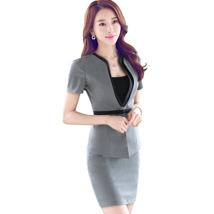 e39e1efe7ef75 Fashion Summer Short sleeve work wear office uniform designs women plus size  skirt suit OL summer slim ladies suits formal set