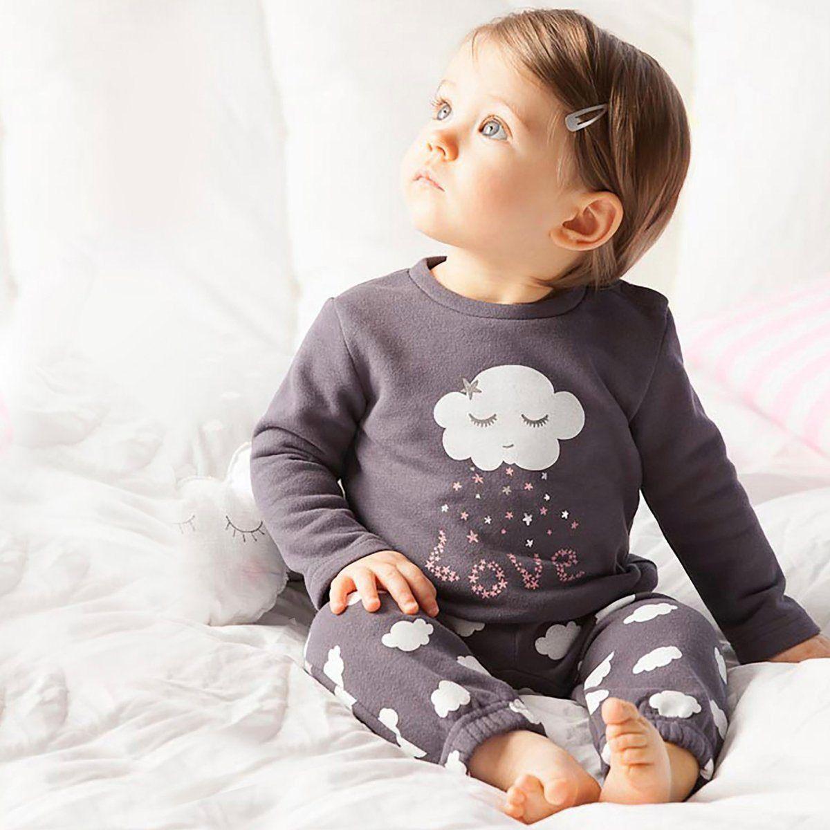 Pijama com 2 peças em moletão R Baby   La Redoute