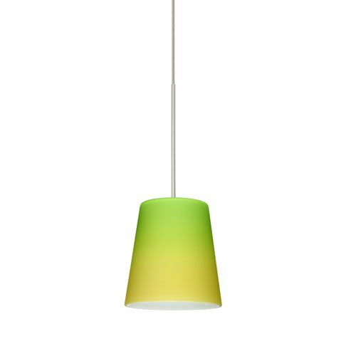 Canto satin nickel led mini pendant with flat canopy and bicolor green and yellow glass