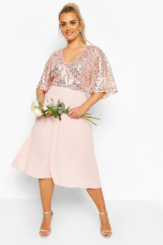 Plus Occasion Sequin Angel Sleeve Midi Dress Boohoo Midi Dress With Sleeves Plus Size Wedding Guest Dresses Cocktail Dresses With Sleeves [ 1500 x 1000 Pixel ]