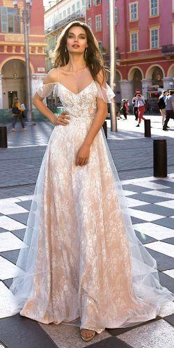 4ff1c21527dd a line blush spaghetti straps off the shoulder lace tina valerdi 2019  wedding dresses mia