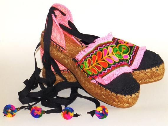 3ae45a1479a Platform espadrilles with multicolored ethnic embroidery and fringes ...