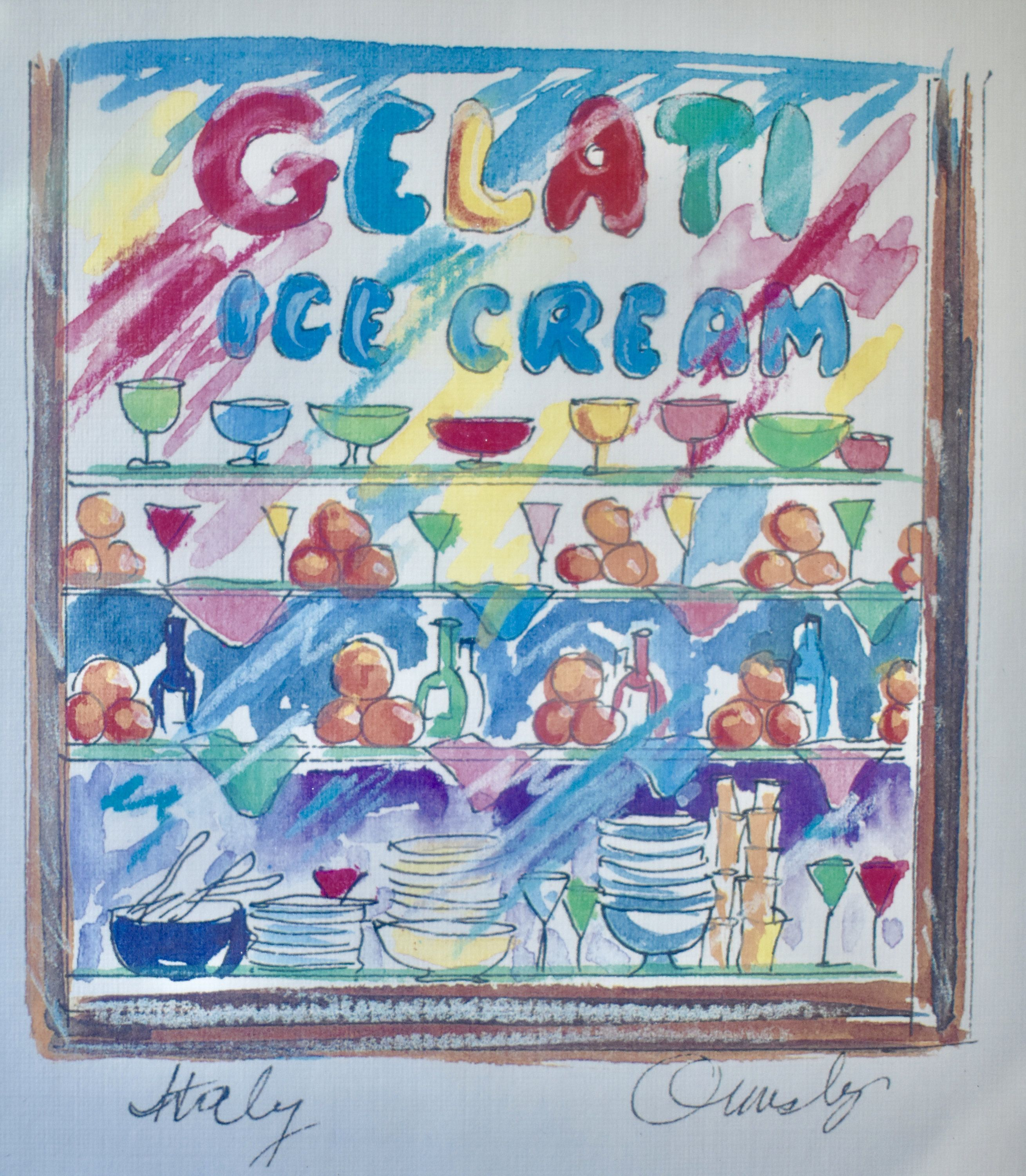 Vintage anne ormsby signed framed art print lithograph gelato ice