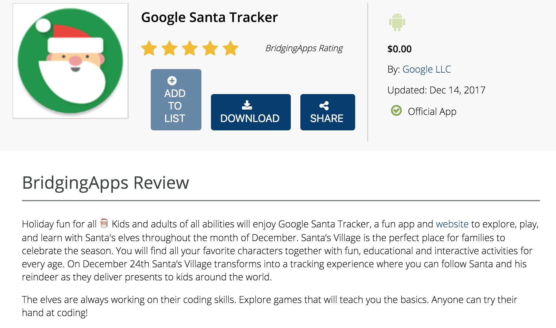 Google Santa Tracker Santa Tracker Holiday Fun App