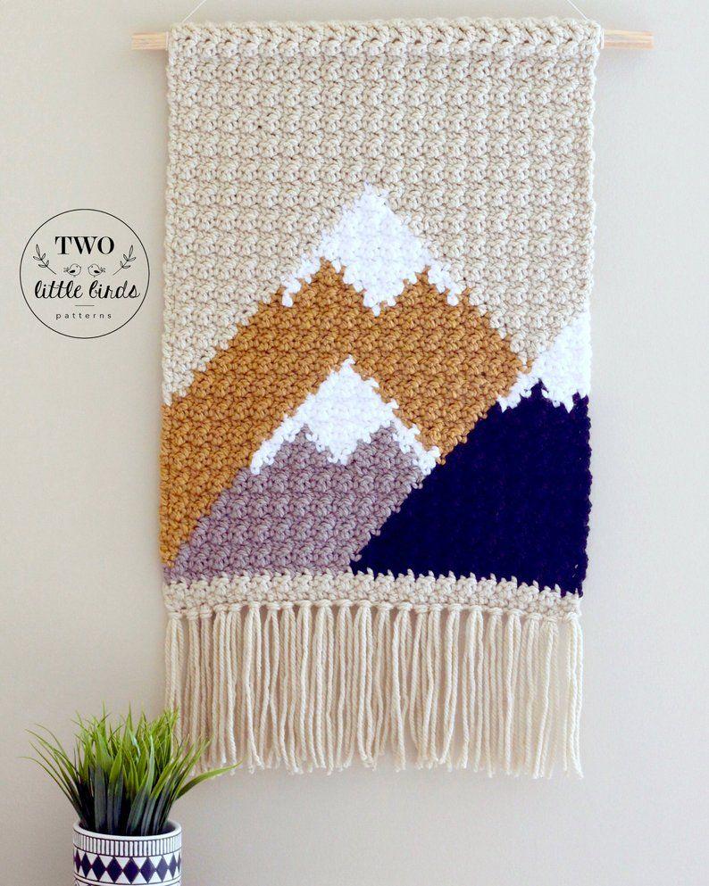 Crochet Wall Hanging Crochet Pattern Diy Wall Hanging Etsy Crochet Wall Art Modern Crochet Crochet Tapestry