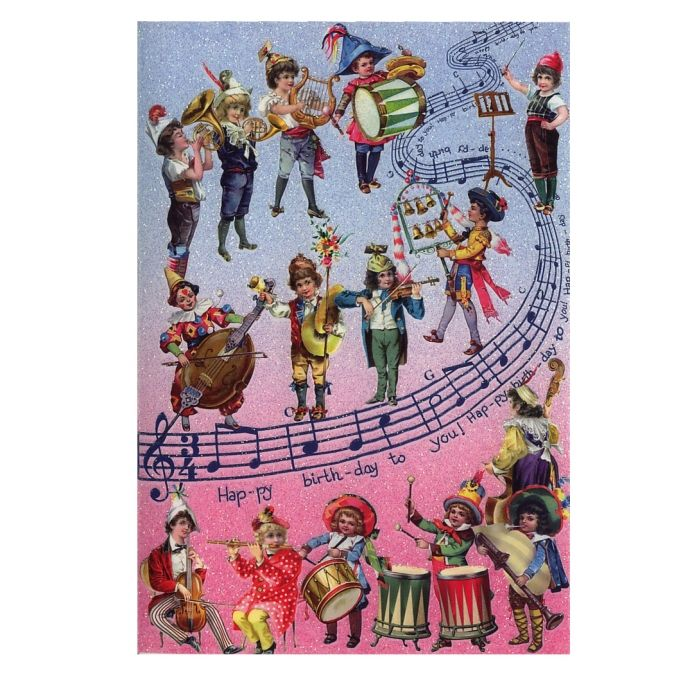Beautiful Victorian Musicians Glittered Happy Birthday Card Germany
