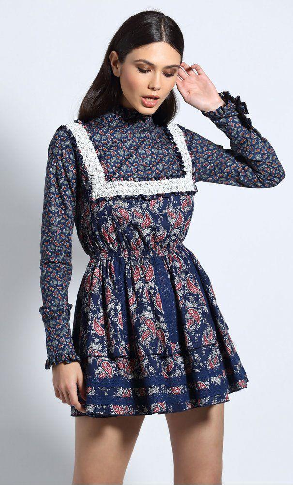 Vestido GUTS   LOVE Lencero Cachemire Azul Marino Minivestidos c6e984ee250d3