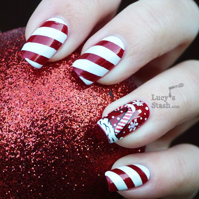 Lucys Stash Candy Cane Holiday Manicure And Nail Art Competition