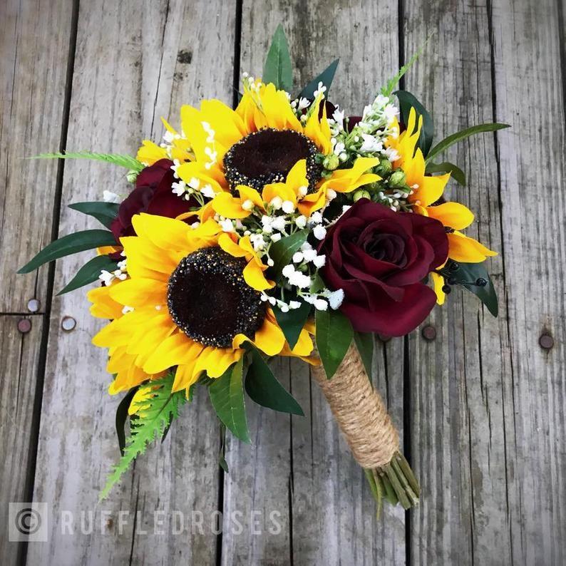 Burgundy Sunflower Bouquet Sunflower And Burgundy Bouquet Etsy In 2020 Sunflower Themed Wedding Sunflower Wedding Bouquet Sunflower Bridesmaid Bouquet
