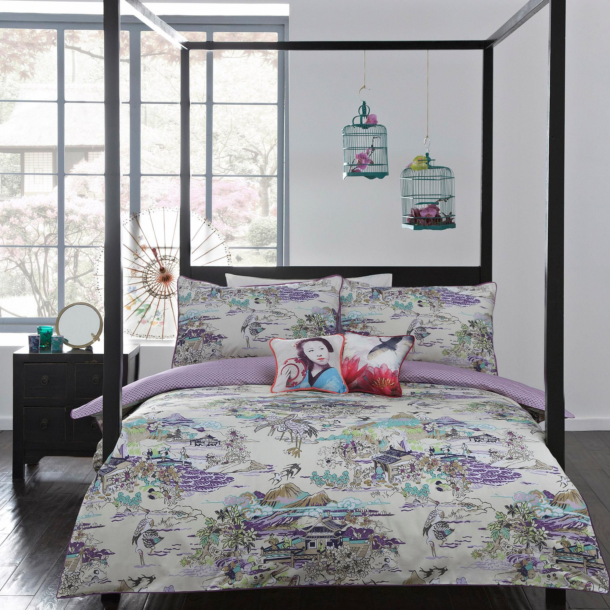 Butterfly Home by Matthew Williamson Green  Japanese Toile  bedding set   for Double Set   at Debenhams. Ivory purple  Japanese Toile  bedding set   Duvet covers   pillow