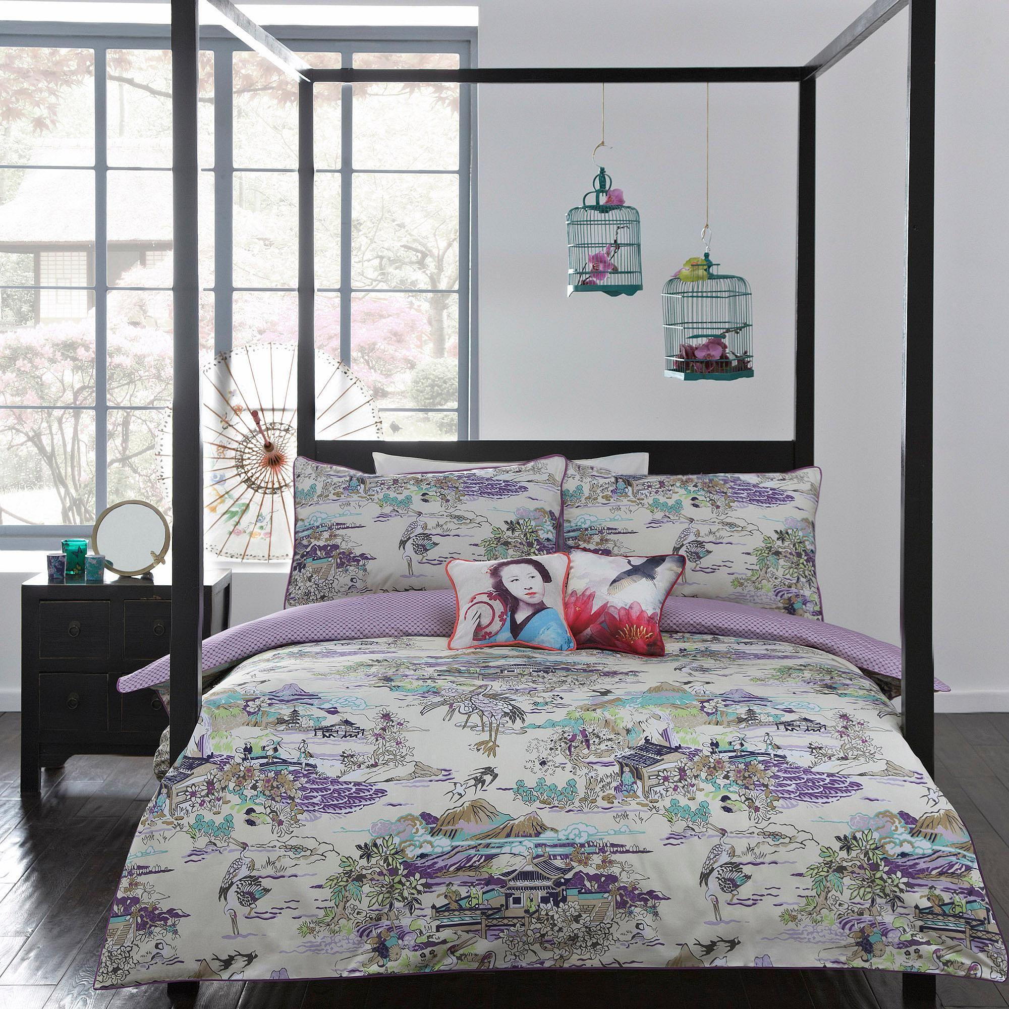 Ivory/purple 'Japanese Toile' bedding set Duvet covers
