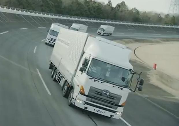 Self-driving convoy of trucks tested in Tsukuba, Japan