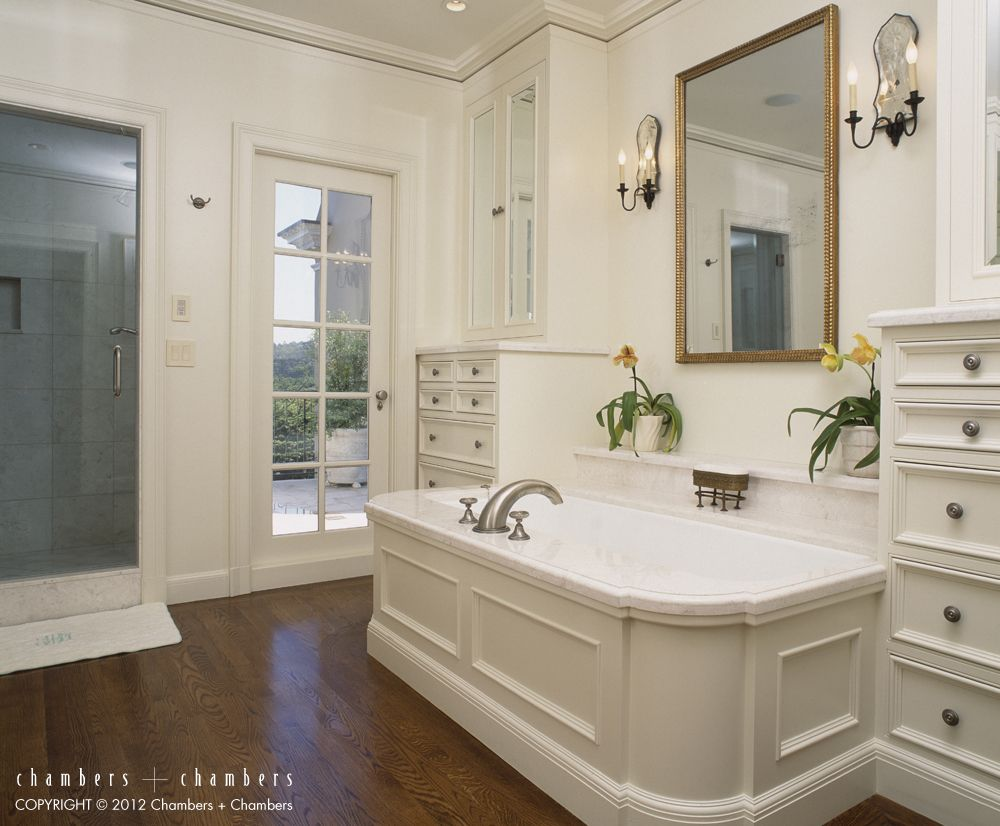 Great Bathroomclassic White Cabinets And Panels Arount The Tub Interesting Great Bathroom Ideas Design Ideas