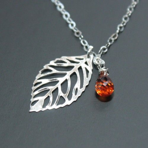Orange Quartz Leaf Necklace