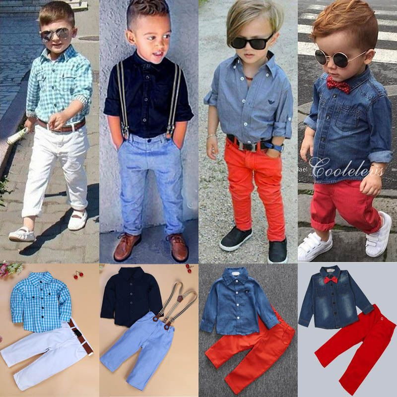2PCS Toddler Kids Baby Boys Clothes T-shirt Tops+Denim Jeans Pants Outfits Set
