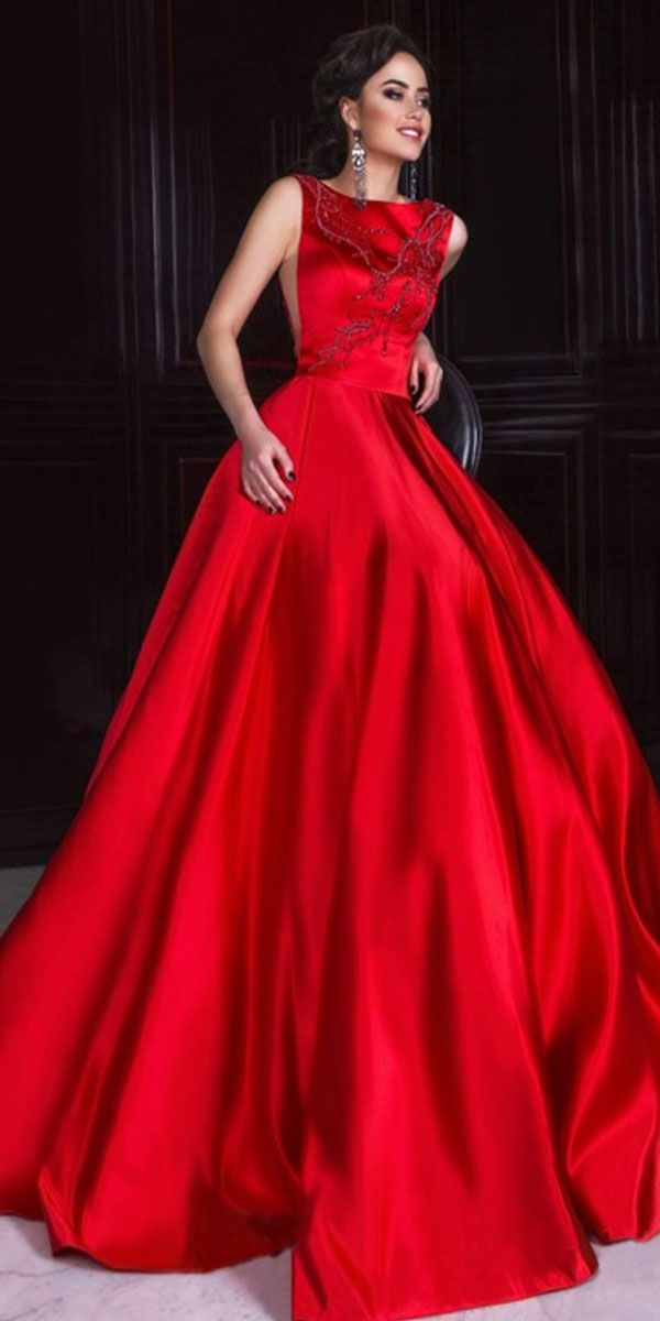 Modest Satin Jewel neckline Neckline Full Length A-line Formal Dresses With  Beaded Embroidery d89155446d5
